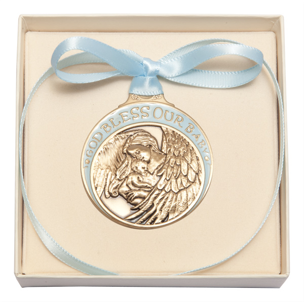 Baptism Blue Child Of God Customizable Snowflake Pewter: Boy's Blue Ribbon Guardian Angel Crib Medal In Brass