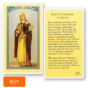 St. Catherine of Siena Laminated Prayer Cards 25 Pack