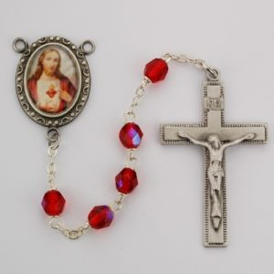 Sacred Heart of Jesus Ruby Glass Rosary