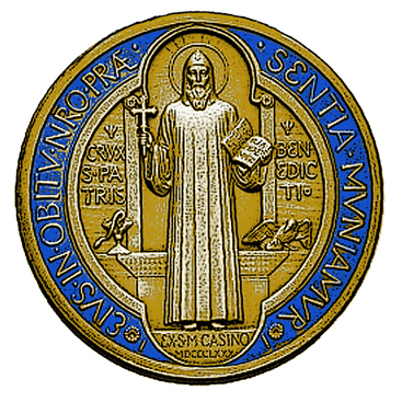 48591ba27  The St. Benedict medal is filled with symbolic images. The front of the  medal has the image of St. Benedict holding a cross in his right hand and  The Rule ...