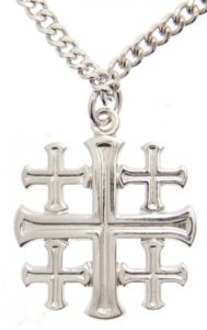 High Polish Jerusalem Cross Pendant with Chain