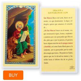 Oracion A San Marcos De Leon Laminated Spanish Prayer Cards 25 Pack