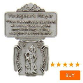 """St. Florian Firefighter Prayer Visor Clip, Pewter - 2 1/8""""H"""