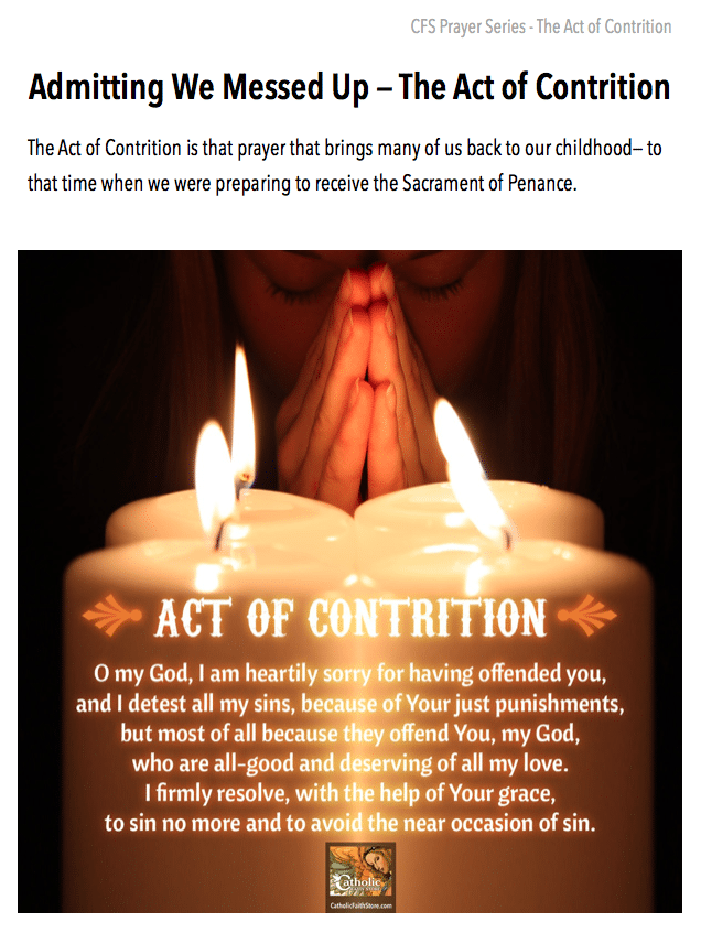 image relating to Act of Contrition Prayer Printable identified as Down load your No cost Lead towards the Act of Contrition - Acquire Your