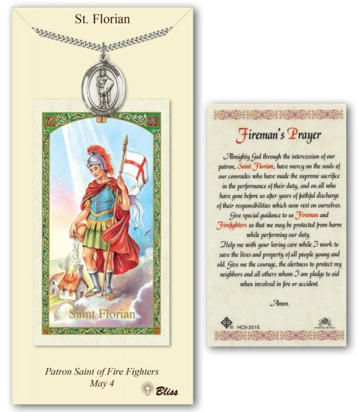 Saint Florian Intercessory Prayer Card with Personalizable Medal