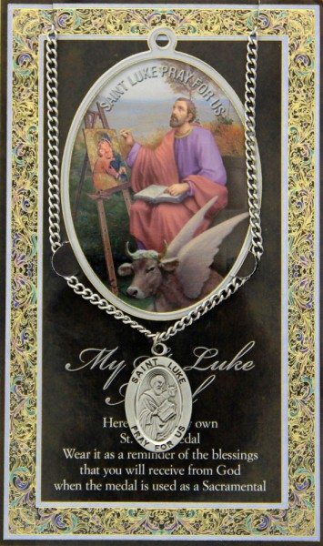 Saint Luke Physician's Bifold Prayer Card with Medal