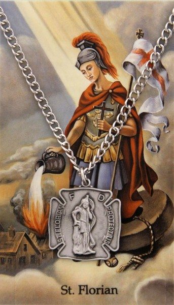 Saint Florian Prayer Card with Shield Medal