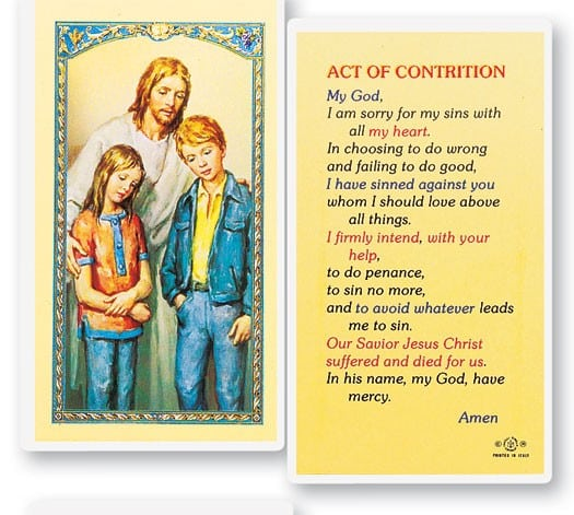 The Comforter Act of Contrition Prayer Cards