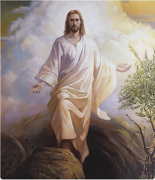 An image of Jesus Christ standing on top of a rock