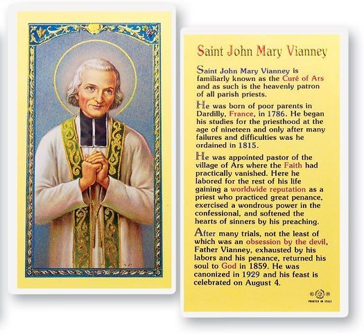 Saint John Vianney Laminated Prayer Cards