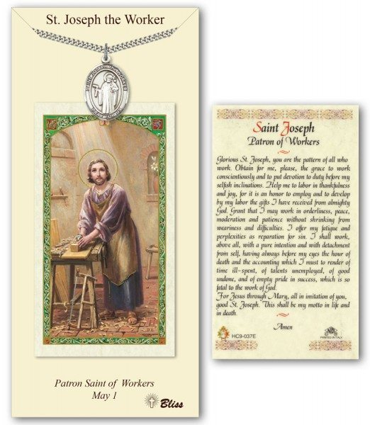 Saint Joseph the Worker Prayer Card with Pewter Medal