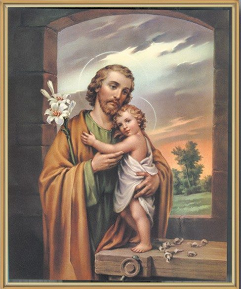 Saint Joseph with Baby Jesus Gold Framed Print
