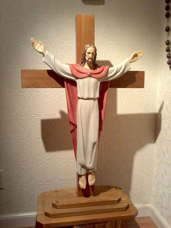 """Risen Christ Statue, Hand Painted, Marble Composite - 25""""H"""