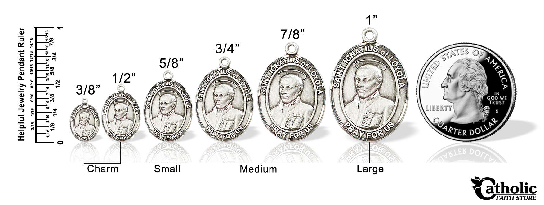 Pendants compared to a quarter
