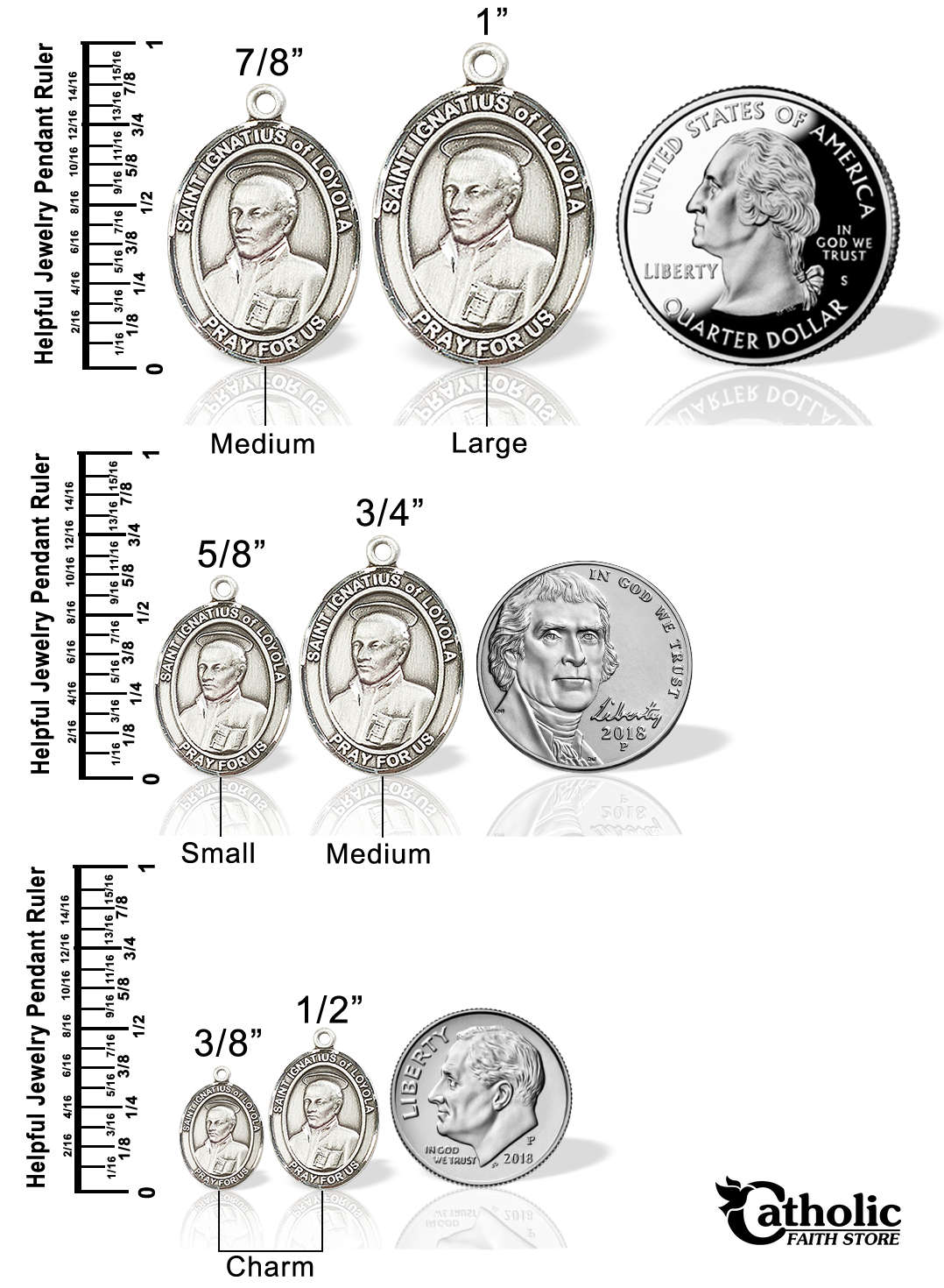 Compare pendants to quarter, nickel and dime