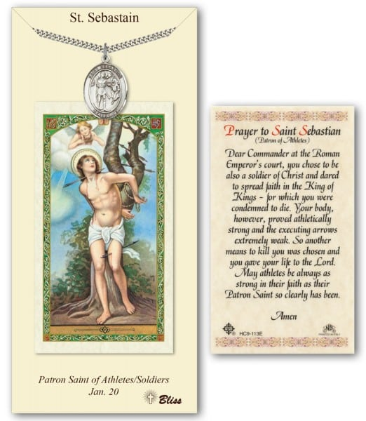 Saint Sebastian prayer card with personalizable medal