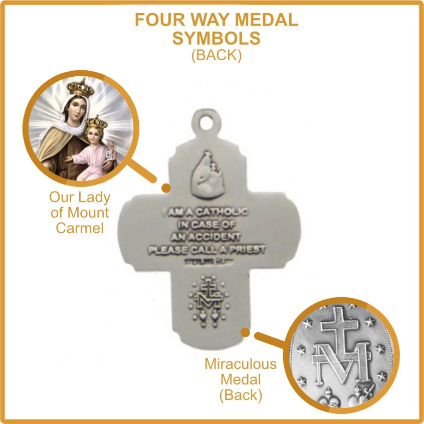 Our Lady of Mount Carmel and Miraculous Medal Symbol on Four Way Medal - Scapular