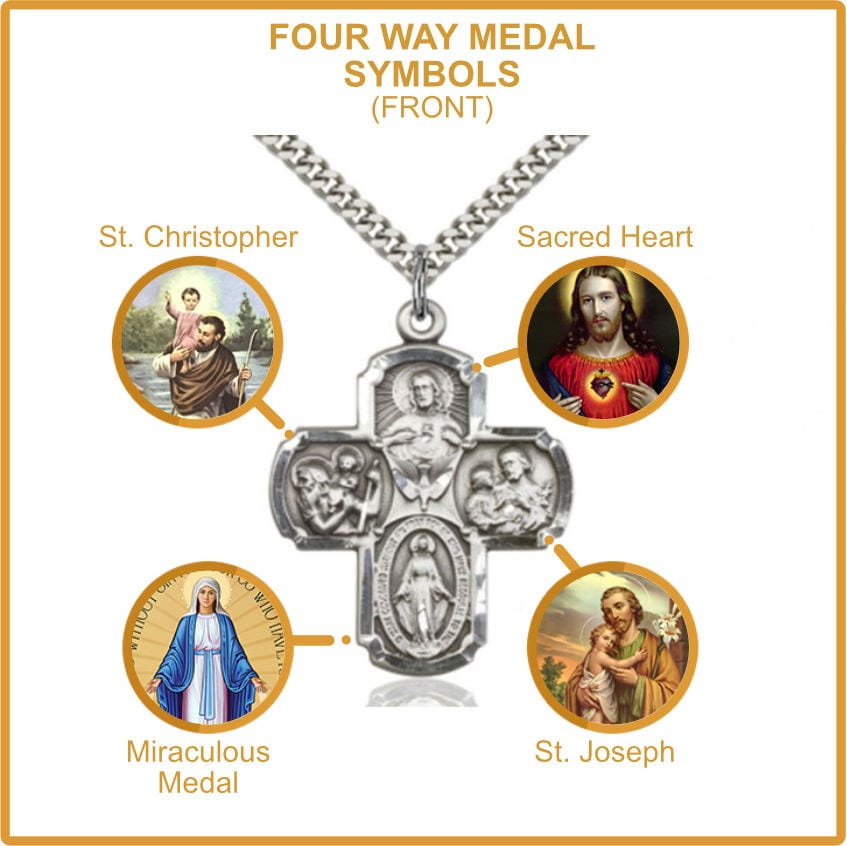 Four Way Medal Catholic Symbols
