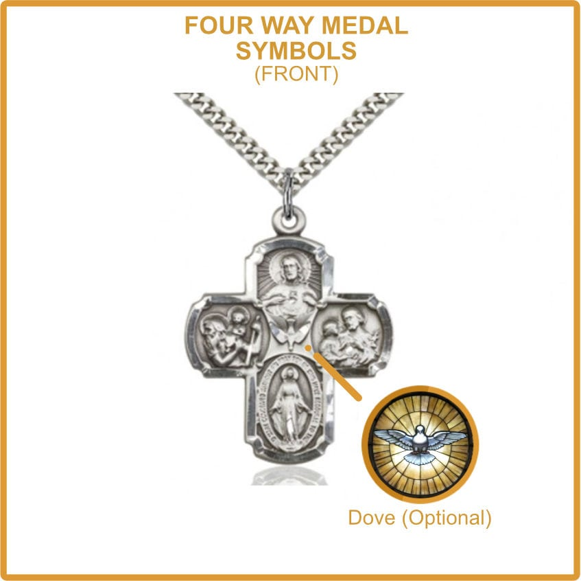 Holy Spirit Dove on Four Way Medal