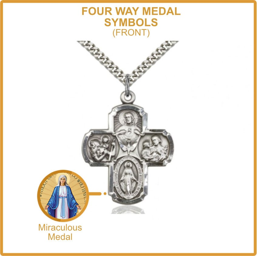 Miraculous Catholic Symbol on Four Way Medal