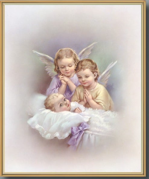 Gold Framed Print Guardian Angel