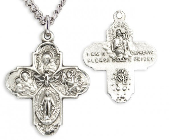 Classic Four Way Medal with Catholic Symbols