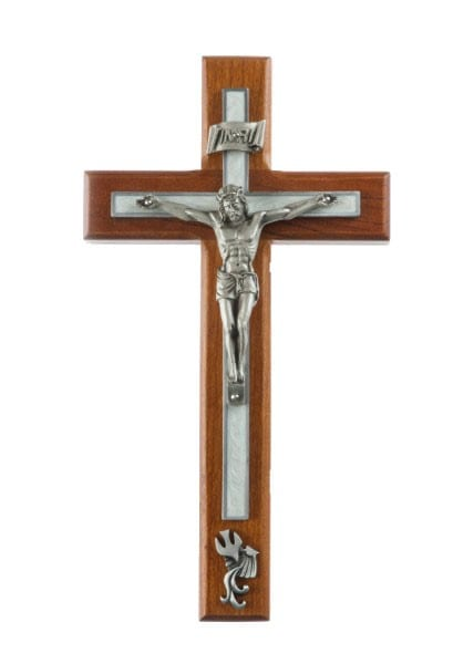 Cherry Wood White Baptism Wall Crucifix