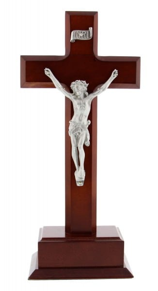 Dark Cherry Wood Standing Crucifix