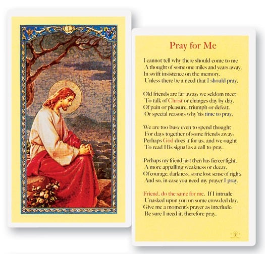 Pray For Me Laminated Prayer Cards