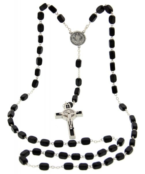Men's St. Benedict Black Wood Rosary