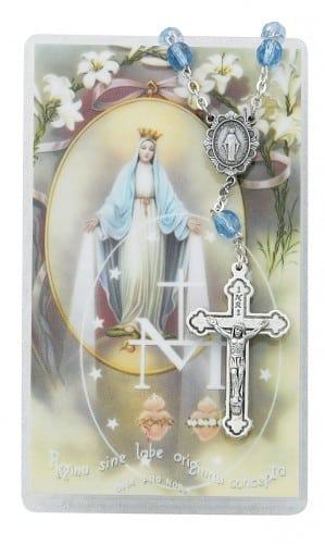 Miraculous Mary Auto Rosary and Prayer Card