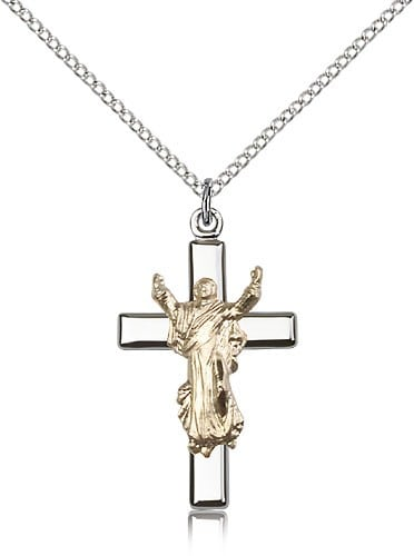 Women's Risen Christ Pendant Two Tone