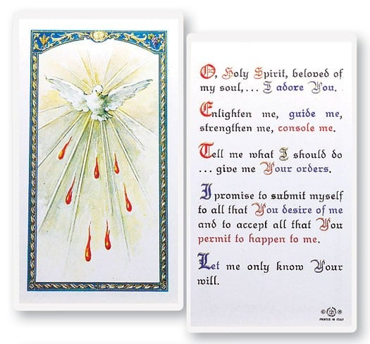 Holy Spirit Laminated Prayer Cards
