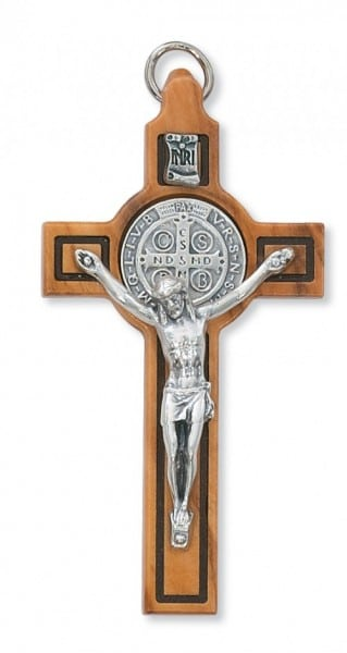 St. Benedict Olive Wood Crucifix, 3 inches