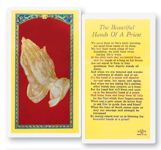Beautiful Hands of A Priest Laminated Prayer Cards 25 Pack