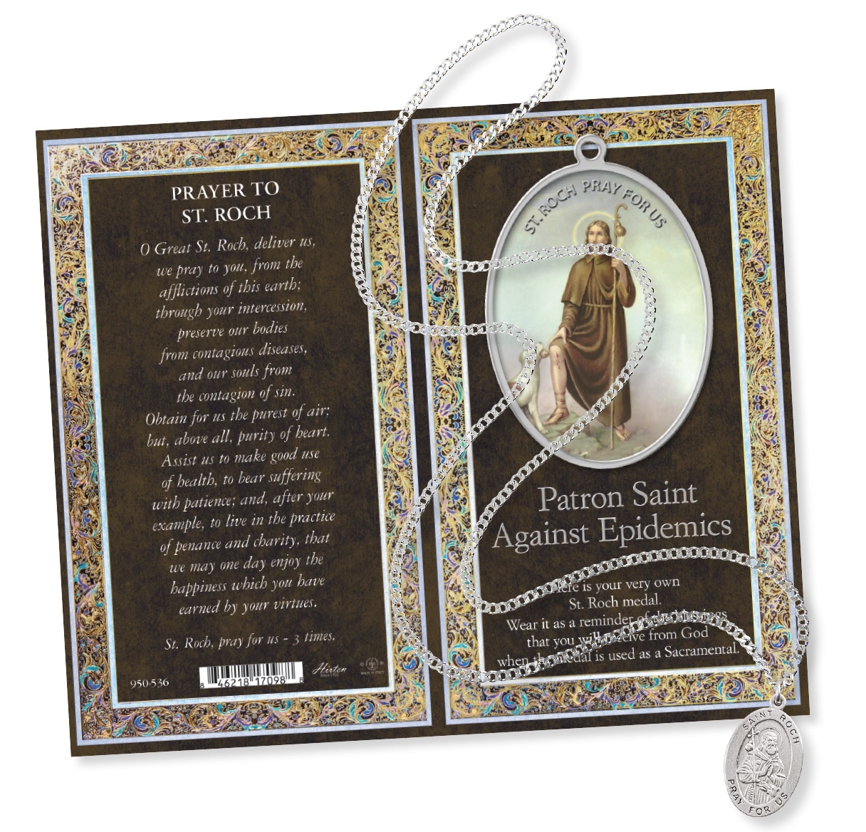 Saint Roch Prayer Card with Pendant